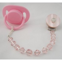 Baby Pink Swarovski Pacifier Clip by Crystal Dream