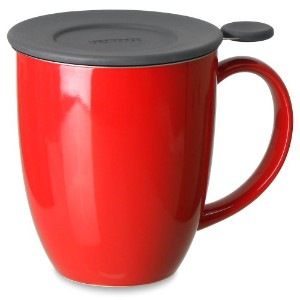 FORLIFE Uni Brew-in-Mug with Tea Infuser and Lid, 16-Ounce, Red by FORLIFE
