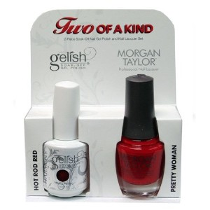 Harmony Gelish & Morgan Taylor - Two of a Kind - Hod Rod Red & Pretty Woman - 0.5oz / 15ml Each