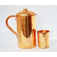 Best Quality Handmade Copper Water 1 Pitcher Jug & 1 Glasses Set for Drinking Water Indian Ayurveda...