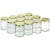 12 – truecraftware Large 6 oz六角ガラスジャーwithゴールドCovers – Pack of 12 – Jars Jams、はちみつ、Sauces、スパイス –...