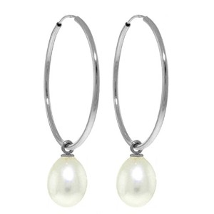 K14 White Gold Hoop Earrings with Natural Pearls