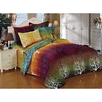Rainbow Tree 3pc Duvet Cover Set: Duvet Cover and Two Matching Pillowcases (King) by Swanson...