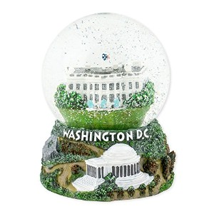 ワシントンDC Capitol 100 mm樹脂Glitter Water Globe Plays Tune Star Spangled Banner