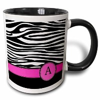 3dローズInspirationzStore Monograms – 文字Aモノグラムonブラックand White Zebra Stripes Animal Print withホットピンクパーソナ...