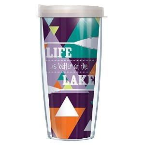 Life Is Better At The Lake WrapタンブラーMug with Lid 16 Oz