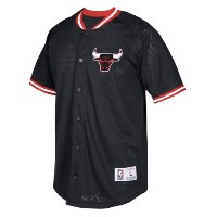 Chicago Bulls Mitchell & Ness Seasoned Pro Mesh Button-Up Shirt メンズ Black NBA ミッチェルアンドネス シカゴ ブルズ