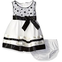 Bonnie Baby Girls' Organza Ribbon Party Dress, Black/White, 6-9 by Bonnie Baby