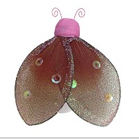 Hanging Ladybug 8 Medium Brown Pink Glitter Mesh Nylon Lady Bug Decorations Decorate Baby Nursery...