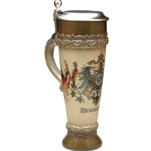 Beer Mug by King – Deutschland (ドイツ) German小麦ビールカップブラウンwith Lid 0.5l