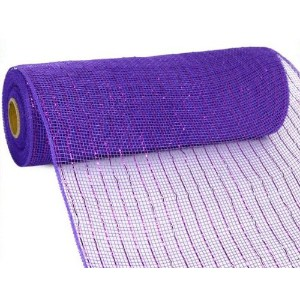 10 inch x 30 feet Deco Poly Mesh Ribbon - Purple with Purple Foil : RE130172 by Deco 79