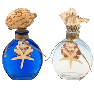 2 Glass Cork Top Glass Bottles, Blue and Clear Shell and Twine Accent by Beachcombers