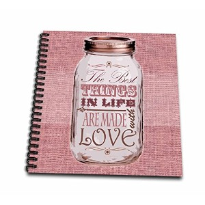 Janna Salak Designs素朴なデザイン–Mason Jar on黄麻布印刷ピンク–The Best Things In Life Are Made with Love–...