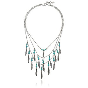 """Lucky Brand Feather Layer Necklace , 17"""" + 2"""" Extender"""