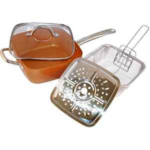 銅パン、5ピース。正方形パン、ガラス蓋、Steamer、Frying Basket、Steamer Stands、誘導Base Non Stick , Dish Washerセーフ