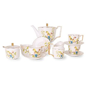 ヨーロピアンティーセットFine Bone China with Vivid鳥11-piece , Service for 4