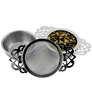 Empress Tea Strainers with Drip Bowls ( 2 - Pack ) ;エレガントなステンレススチールLoose Leaf Tea Strainers
