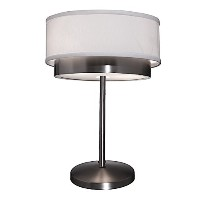 Artcraft Lighting Scandia Table Lamp, Brushed Nickel with White Linen Shade by Artcraft Lighting