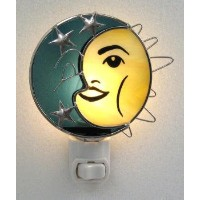 Stained Glass Sun and Moon Night Light with標準ベース