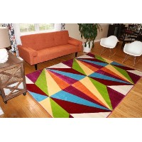 Feraghan/New City Shapes Geometric Contemporary Modern Area Rug, 2' x 3', Purple/White/Green/Blue...