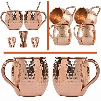 Moscow Mule Copper Mugs and Straws, Gift Set, 100% Pure Recycled Copper Cups by SPIRIT VALLEY