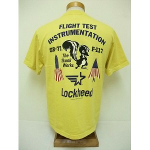Buzz Rickson's[バズリクソンズ] Tシャツ LOCKHEED FLIGHT TEST INSTRUMENTATION (YELLOW)