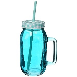 Style Setter 206242-2BL Jars with Lids & Straws (Set of 2), Blue by Style Setter