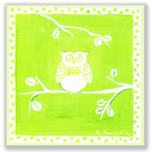 The Kids Room by Stupell White Owl on Green Square Wall Plaque by The Kids Room by Stupell