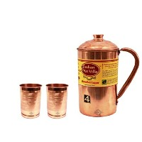 IndianArtVilla Handmade Pure Copper Pitcher/Jug 1200 ML, 2 Glass Tumbler Cup ... by Indian Art Villa