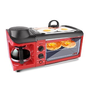 Elite EBK-1782R Maxi-Matic 3-in-1 Deluxe Breakfast Station, Red by Maximatic