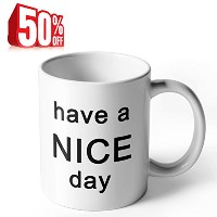 Ahaマグ–Have A Nice Day–11オンス磁器コーヒーカップ、ホワイト–by Sweese
