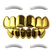 24KゴールドメッキGrillz for Mouth Top Bottom Hip Hop Teeth