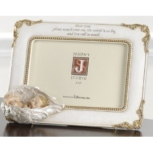 Roman 6.5 Photo Frame Baby In Guardian Angel Wings Joseph Studio Holds 4 x 6 picture by Roman