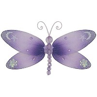 The Butterfly Grove Dakota Dragonfly 3D Hanging Mesh Nylon Decor, Purple Wisteria, Small, 7 x 4 by...