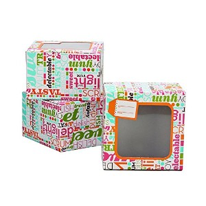 Sweet Creations Colorful Typography Cookie Boxes、M、マルチカラー、3 - Pack