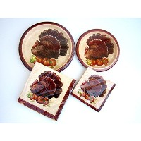 Holiday Fall感謝祭Elegance Paper Plates and Napkins Bundle of 4