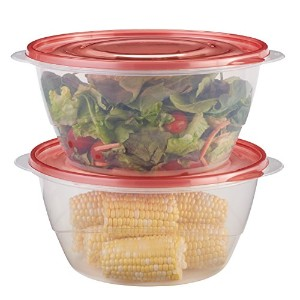 Rubbermaid TakeAlongs Serving Bowls Food Storage Container, 2-Pack, 15.7 Cup, Tint Chili, Red by...