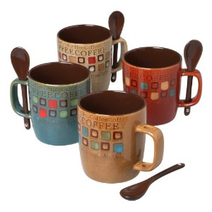 Mr. Coffee 8-Piece Cafe Americano Mug Set with Spoons, 13-Ounce, Assorted by Mr. Coffee