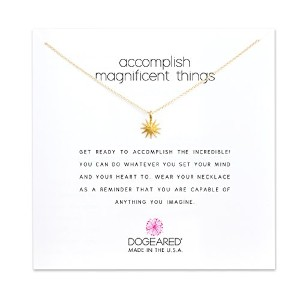 Dogeared Accomplish Magnificent Things Gold Dipped Reminderボックスネックレス
