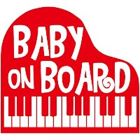 TREZ BABY ON BOARD ピアノ 鍵盤 PIANO ステッカー 【BABY IN CAR】 (レッド)