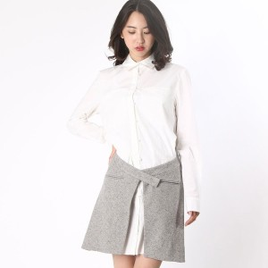 【SALE 65%OFF】デレクラム テン クロスビー DEREK LAM 10 CROSBY L/S SHIRTDRESS W/SPECKLED WOOL SKIRT (grey melange)