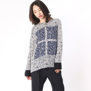 【SALE 65%OFF】デレクラム テン クロスビー DEREK LAM 10 CROSBY l/s top w contrast patches (midnight multi)