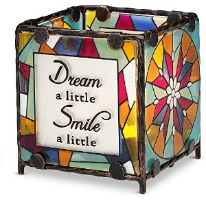 Shine on Me by Pavilion Glass Candle Holder, Dream Smile Hope Laugh Sentiment, 3 by 3-Inch [並行輸入品]