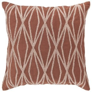 Surya COM-021 Hand Crafted 100% Cotton Sienna 18' x 18' Geometric Decorative Pillow [並行輸入品]