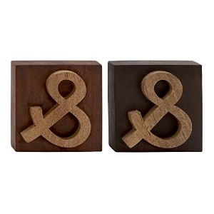 Deco 79 Wood Block Symbol, 2 Assorted, 8 by 8' [並行輸入品]
