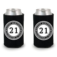 shop4ever ® Celebrating 21年Can Coolie Happy誕生日ドリンククーラーCoolies ブラック