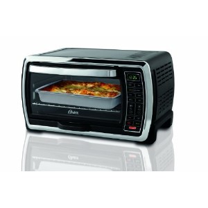 Oster Large Capacity Countertop 6-Slice Digital Convection Toaster Oven, Black/Polished Stainless,...