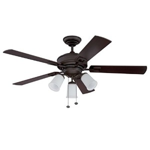 "Litex E-MPS52EB5C3 Domenico 52"" Etruscan Bronze Ceiling Fan with Five Reversible Chestnut/Walnut..."