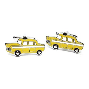 Yellow Taxi Cab Motor Car Cufflinks