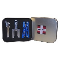 Swiss+Tech ST20023 Polished Stainless Steel/Blue Utility Key Tool, Micro Pocket Multitools Gift Tin...